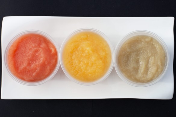 The colours of the three apple sauces
