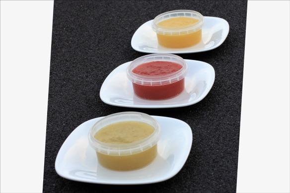 Trois couleurs de compote de pomme